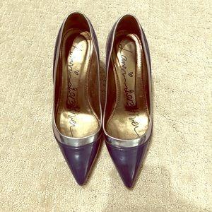 lanvin navy silver patent heel